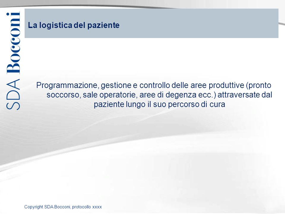 La logistica del paziente