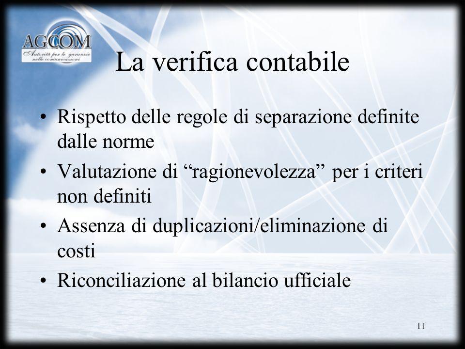 La verifica contabile Rispetto delle regole di separazione definite dalle norme. Valutazione di ragionevolezza per i criteri non definiti.