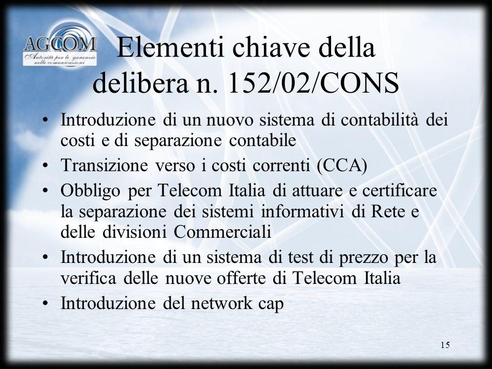 Elementi chiave della delibera n. 152/02/CONS