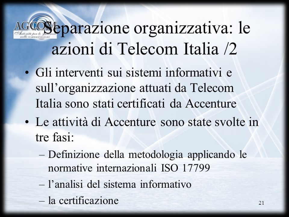 Separazione organizzativa: le azioni di Telecom Italia /2