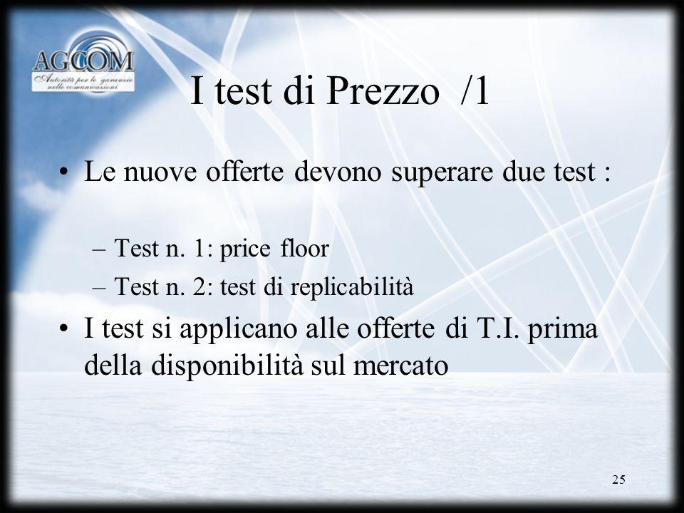 I test di Prezzo /1 Le nuove offerte devono superare due test :