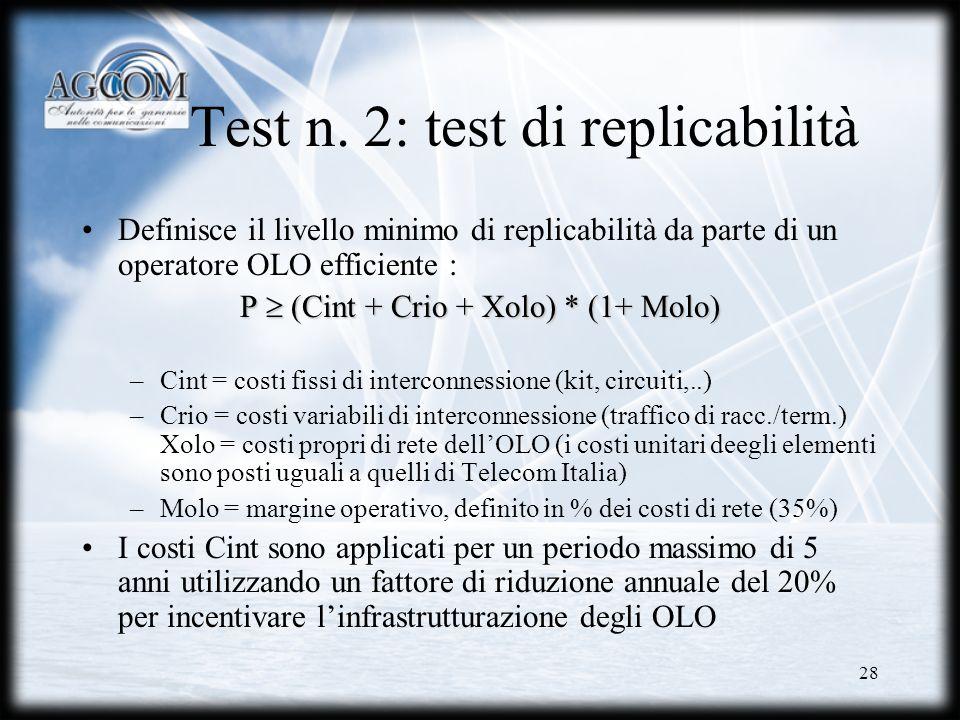 Test n. 2: test di replicabilità