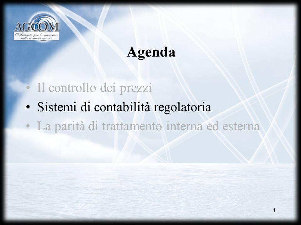 Agenda Il controllo dei prezzi Sistemi di contabilità regolatoria