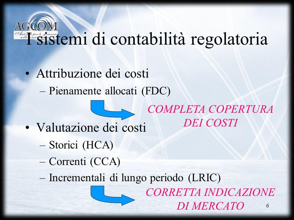 I sistemi di contabilità regolatoria