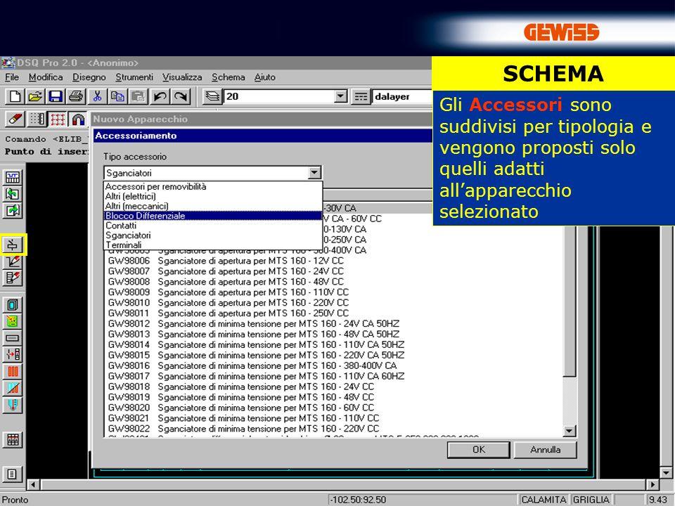 SCHEMA Gli Accessori sono suddivisi per tipologia e vengono proposti solo quelli adatti all'apparecchio selezionato.