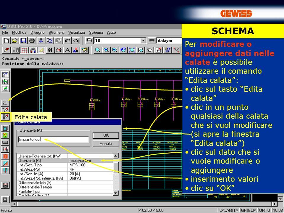 SCHEMA Per modificare o aggiungere dati nelle calate è possibile utilizzare il comando Edita calata :