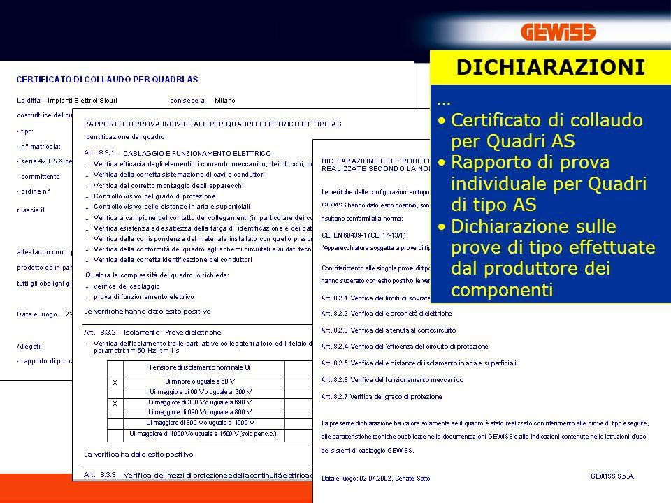 DICHIARAZIONI … Certificato di collaudo per Quadri AS