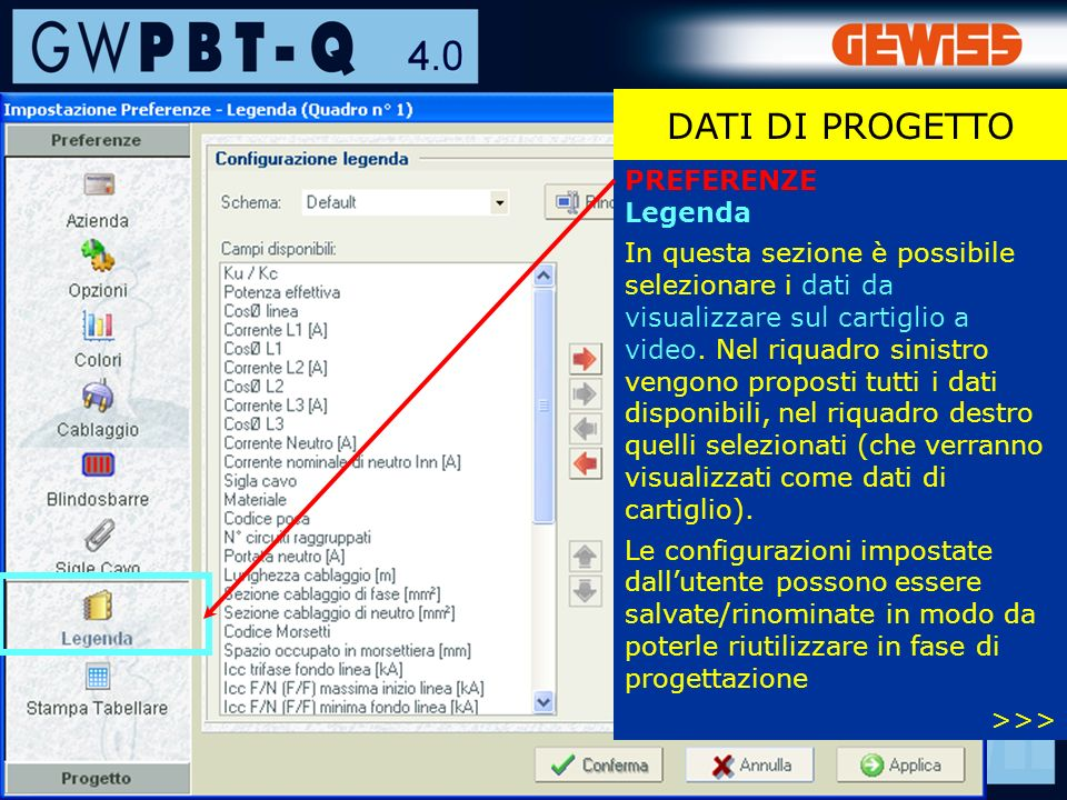 DATI DI PROGETTO PREFERENZE Legenda