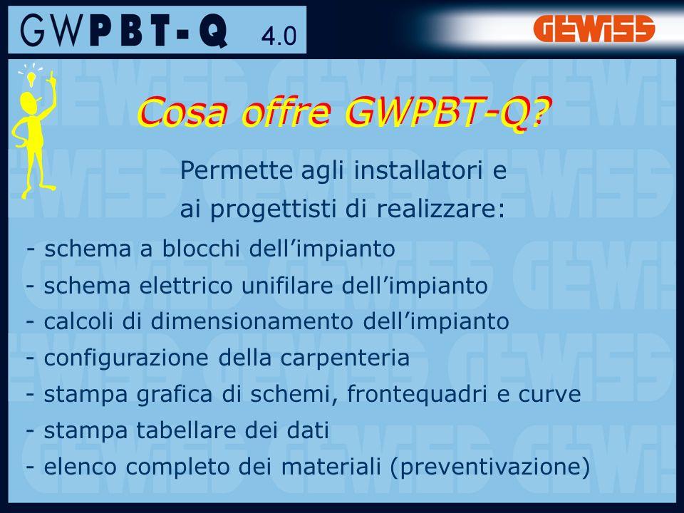 Cosa offre GWPBT-Q Permette agli installatori e