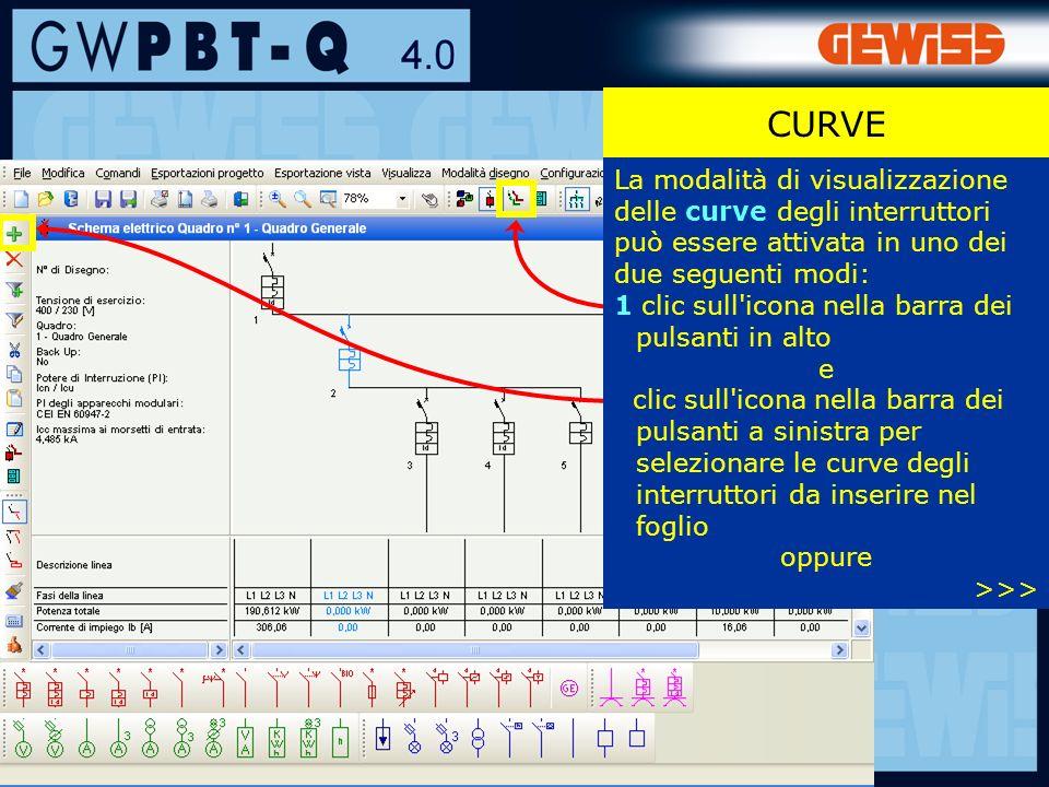 CURVE La modalità di visualizzazione delle curve degli interruttori può essere attivata in uno dei due seguenti modi: