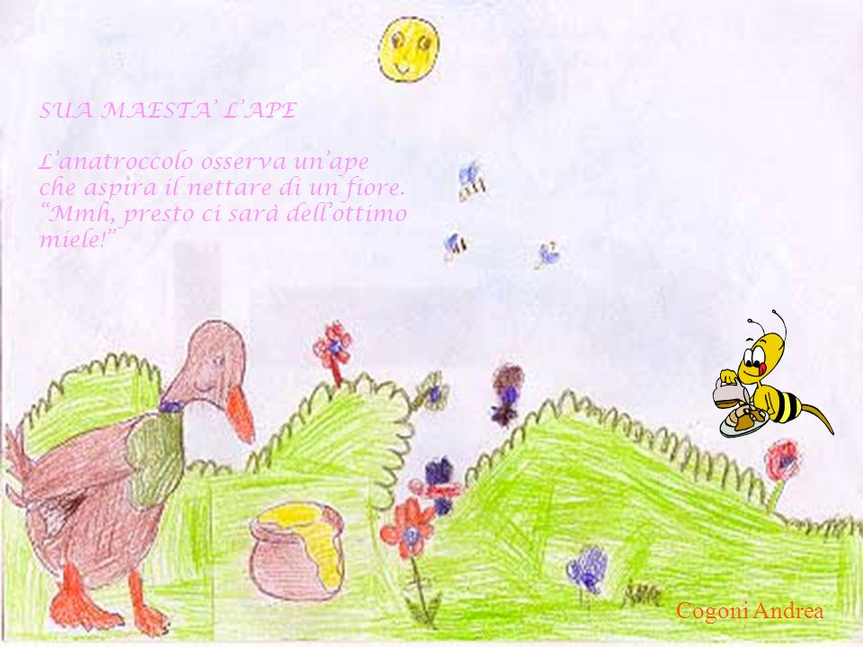 Cogoni Andrea SUA MAESTA' L'APE L'anatroccolo osserva un'ape