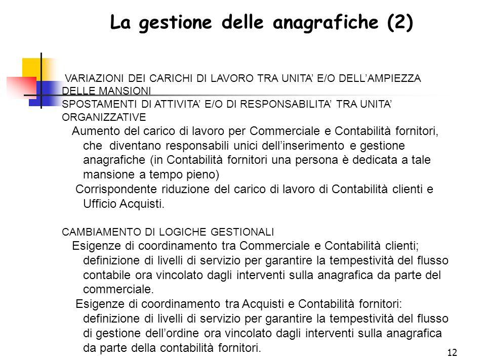 La gestione delle anagrafiche (2)