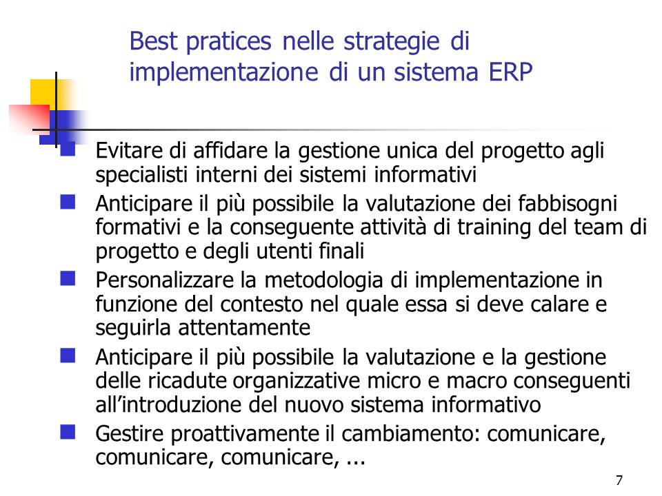 Best pratices nelle strategie di implementazione di un sistema ERP