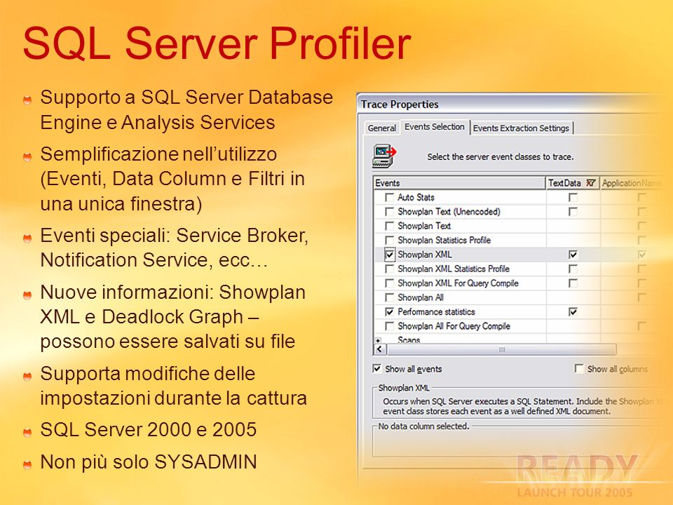 3/29/2017 3:05 AM SQL Server Profiler. Supporto a SQL Server Database Engine e Analysis Services.