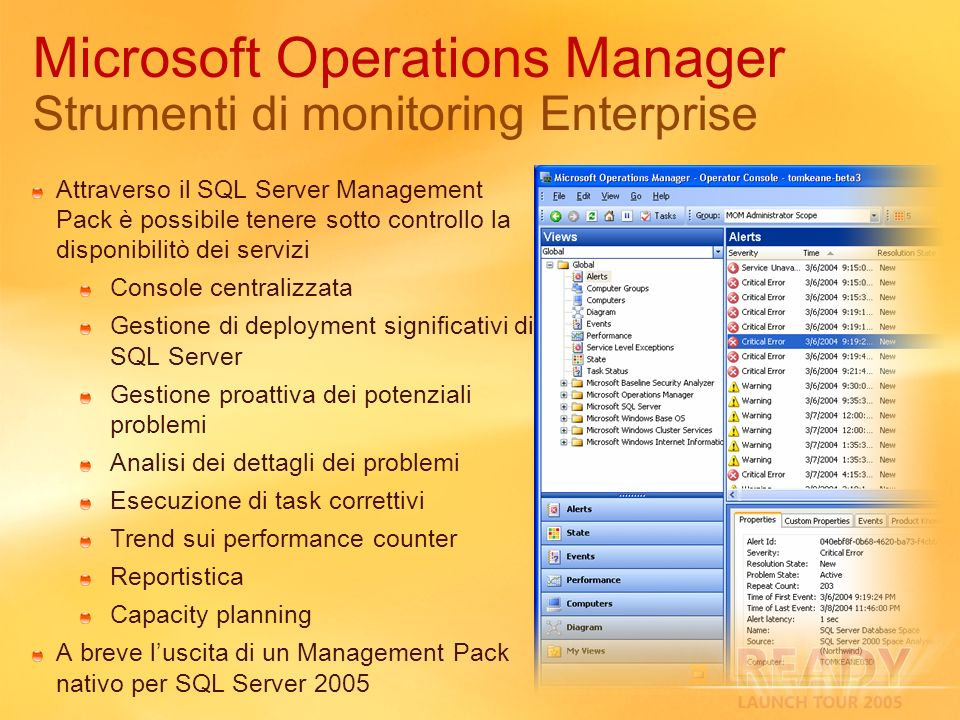 Microsoft Operations Manager Strumenti di monitoring Enterprise