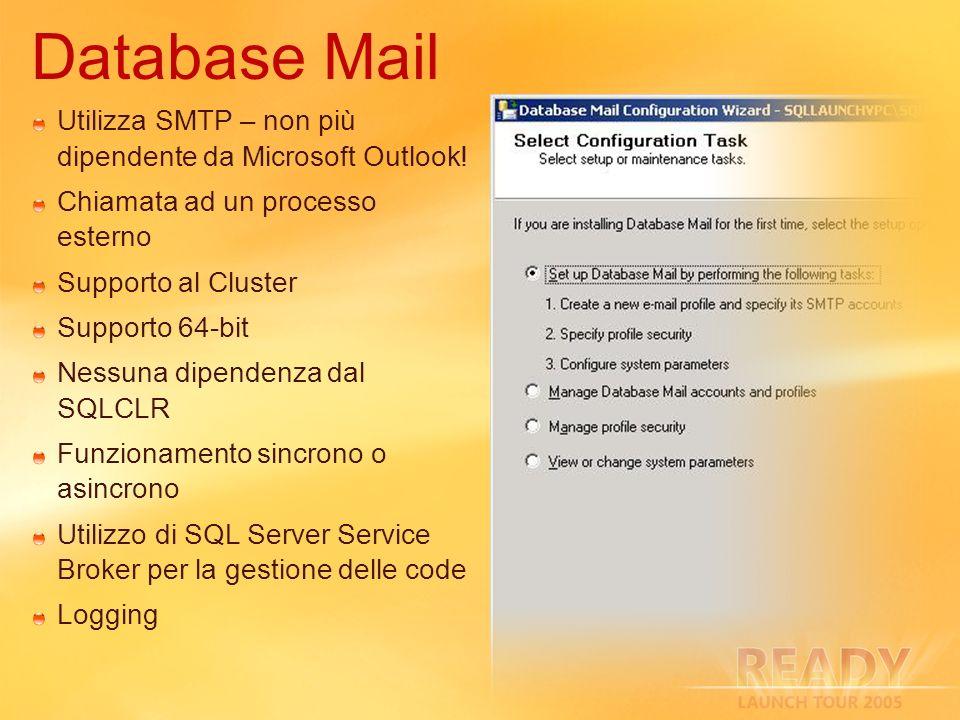 Database Mail Utilizza SMTP – non più dipendente da Microsoft Outlook!