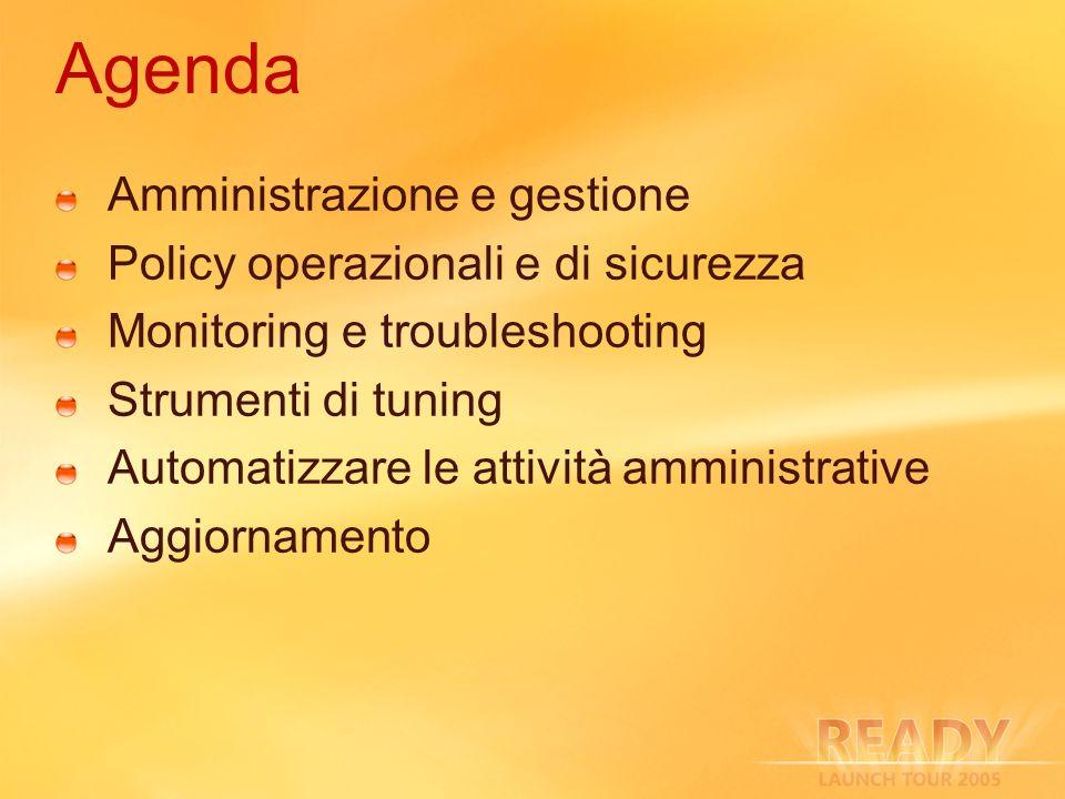 Agenda Amministrazione e gestione Policy operazionali e di sicurezza