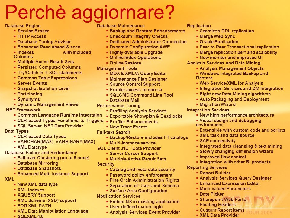 Perchè aggiornare 3/29/2017 3:05 AM Database Engine Service Broker