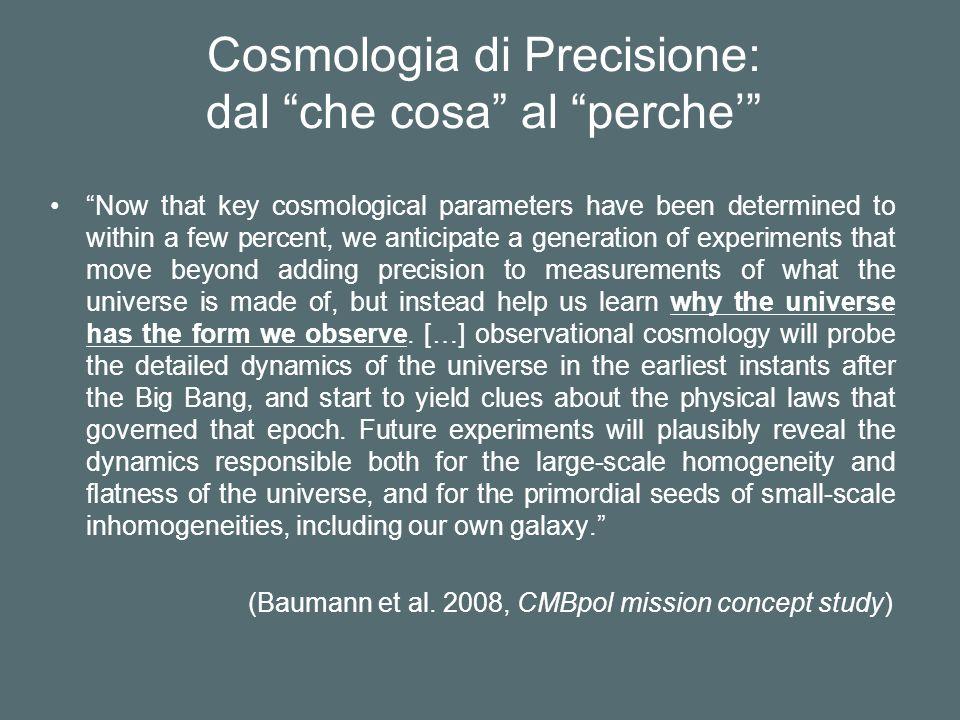 Cosmologia di Precisione: dal che cosa al perche'