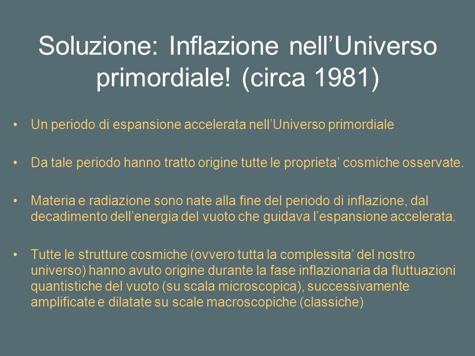 Soluzione: Inflazione nell'Universo primordiale! (circa 1981)