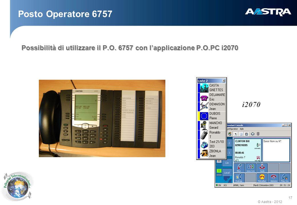 Posto Operatore 6757 Possibilità di utilizzare il P.O. 6757 con l'applicazione P.O.PC i2070 i2070