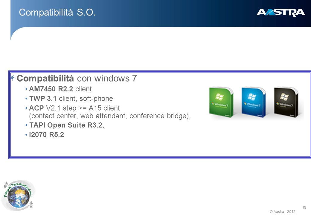 Compatibilità S.O. Compatibilità con windows 7 AM7450 R2.2 client