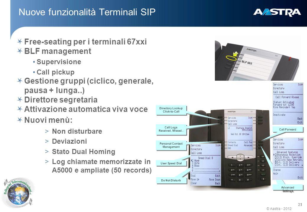 Nuove funzionalità Terminali SIP