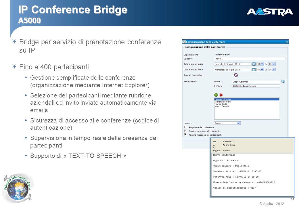 IP Conference Bridge A5000 Bridge per servizio di prenotazione conferenze su IP. Fino a 400 partecipanti.