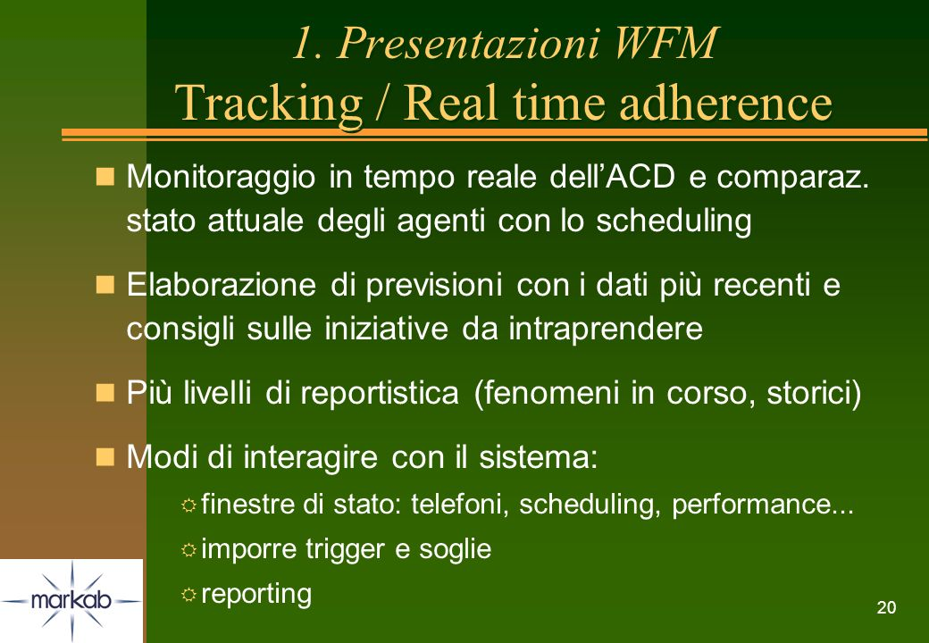 1. Presentazioni WFM Tracking / Real time adherence