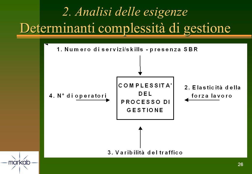 2. Analisi delle esigenze Determinanti complessità di gestione
