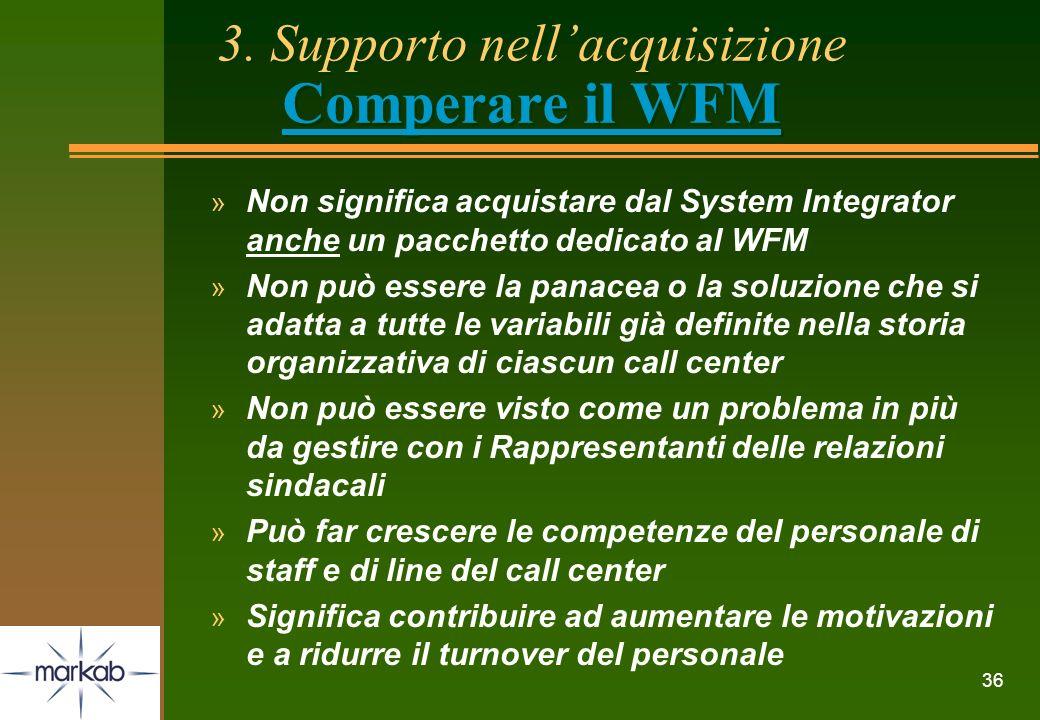 3. Supporto nell'acquisizione Comperare il WFM
