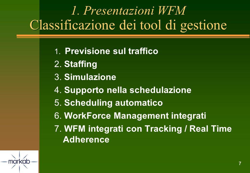 1. Presentazioni WFM Classificazione dei tool di gestione