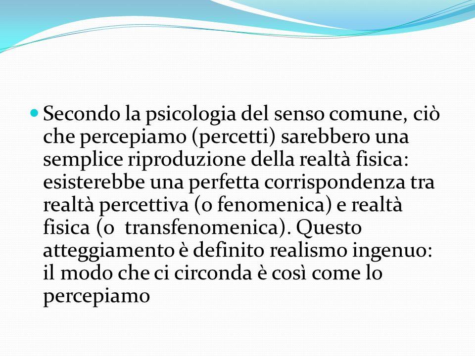 Secondo la psicologia del senso comune, ciò che percepiamo (percetti) sarebbero una semplice riproduzione della realtà fisica: esisterebbe una perfetta corrispondenza tra realtà percettiva (o fenomenica) e realtà fisica (o transfenomenica).