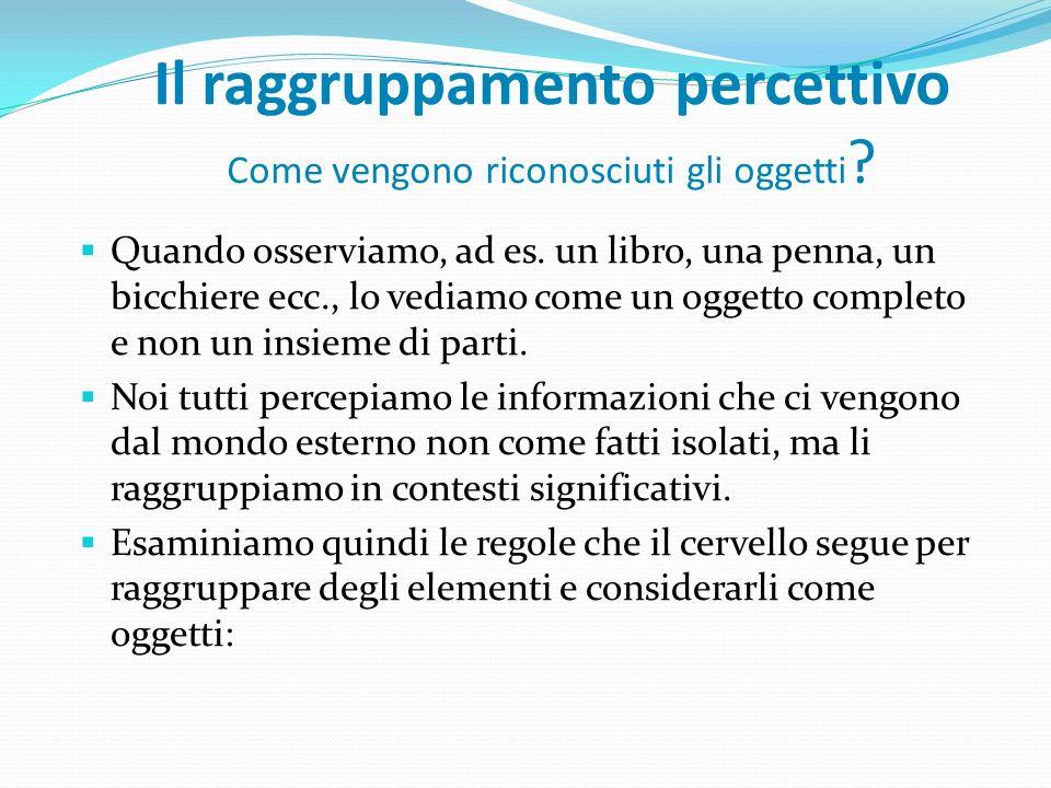 Il raggruppamento percettivo Come vengono riconosciuti gli oggetti