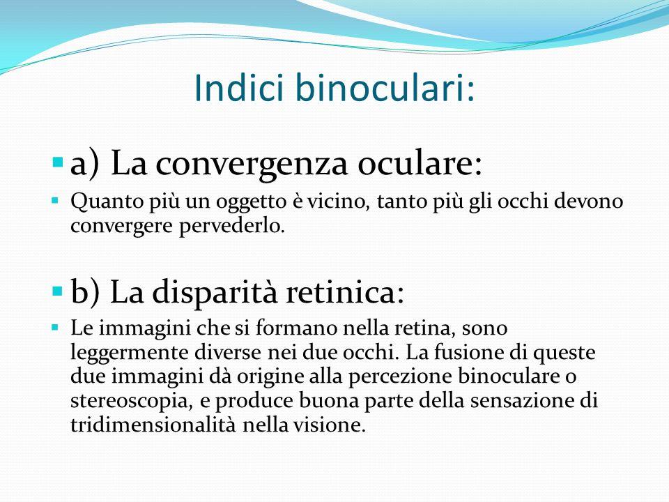 Indici binoculari: a) La convergenza oculare: