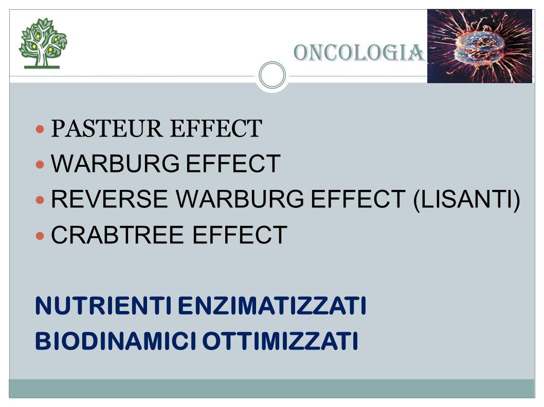 ONCOLOGIA PASTEUR EFFECT. WARBURG EFFECT. REVERSE WARBURG EFFECT (LISANTI) CRABTREE EFFECT. NUTRIENTI ENZIMATIZZATI.