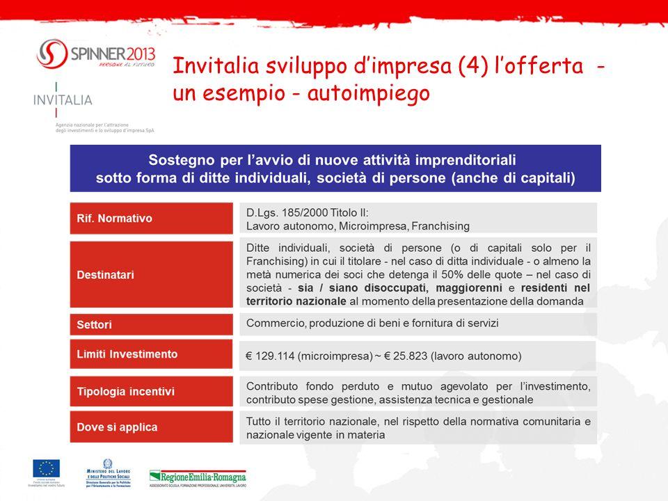 Invitalia sviluppo d'impresa (4) l'offerta -un esempio - autoimpiego