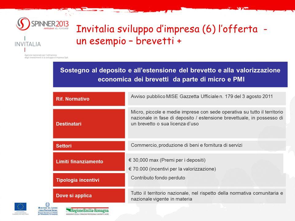 Invitalia sviluppo d'impresa (6) l'offerta -un esempio – brevetti +