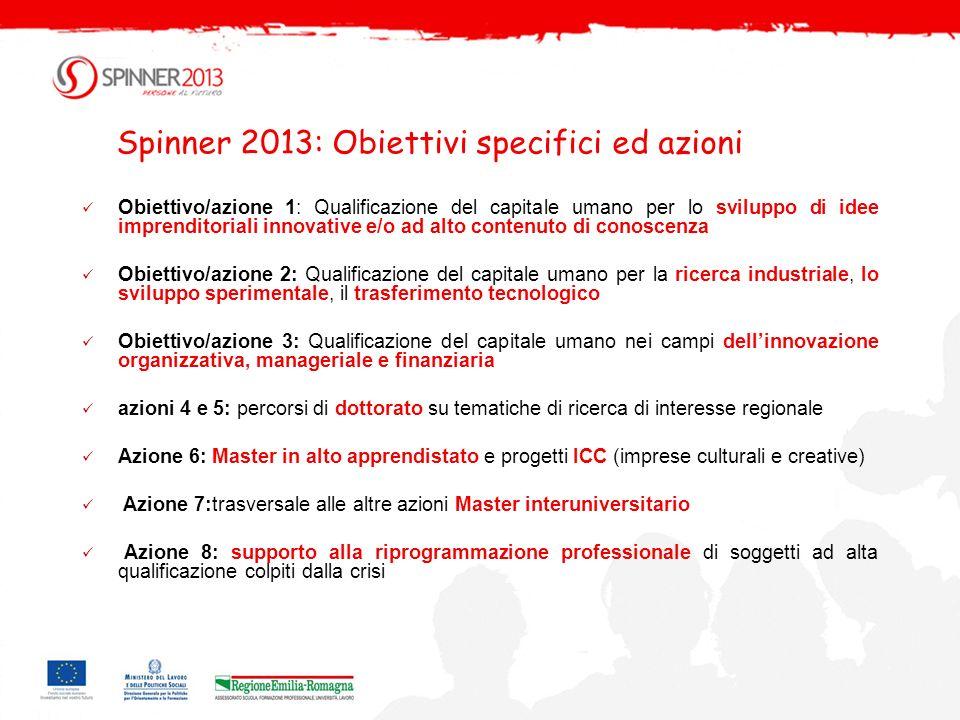Spinner 2013: Obiettivi specifici ed azioni