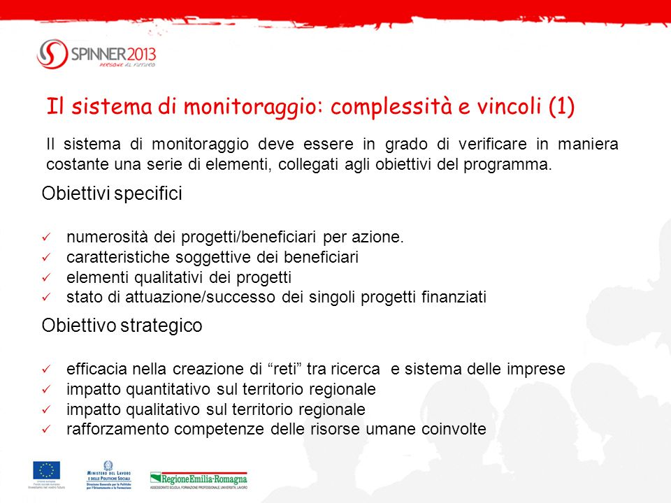 Il sistema di monitoraggio: complessità e vincoli (1)