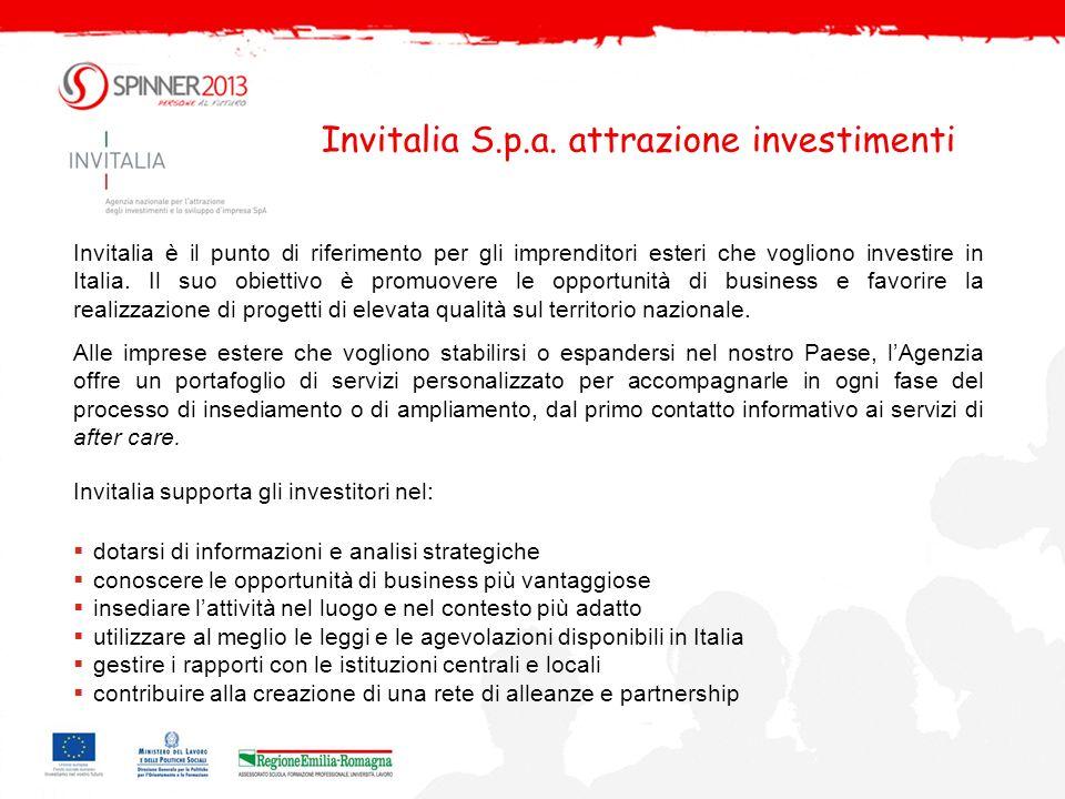 Invitalia S.p.a. attrazione investimenti