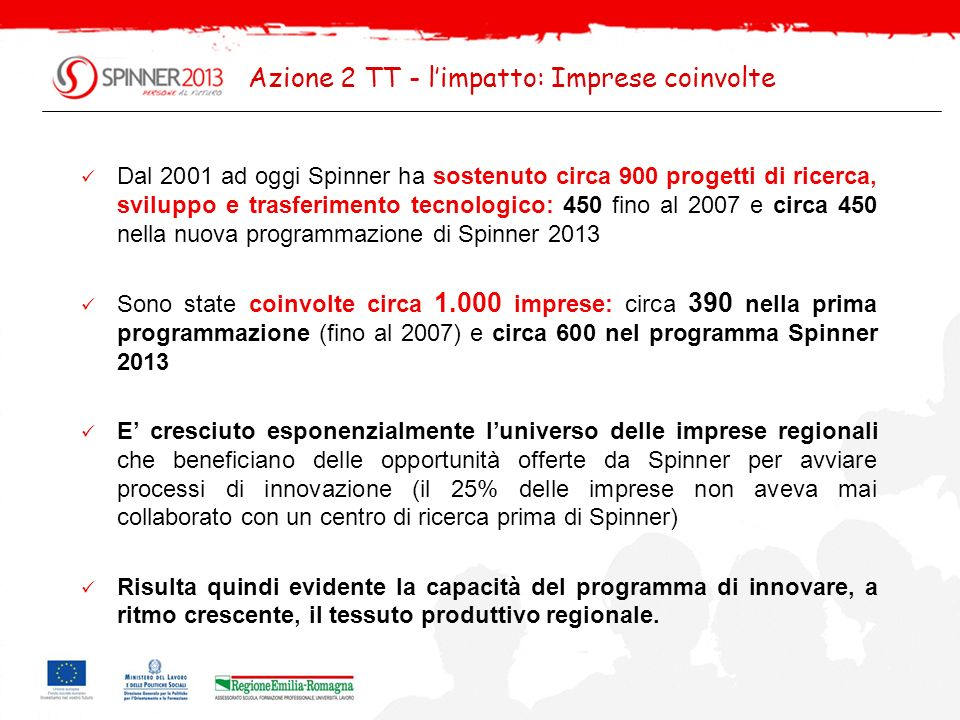 Azione 2 TT - l'impatto: Imprese coinvolte
