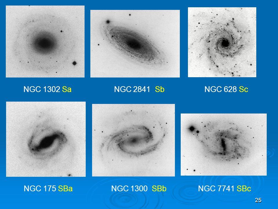 NGC 1302 Sa NGC 2841 Sb NGC 628 Sc NGC 175 SBa NGC 1300 SBb NGC 7741 SBc.
