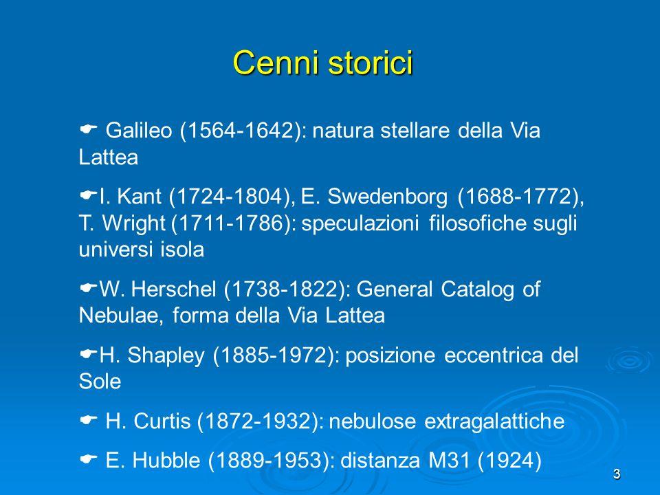 Cenni storici Galileo (1564-1642): natura stellare della Via Lattea