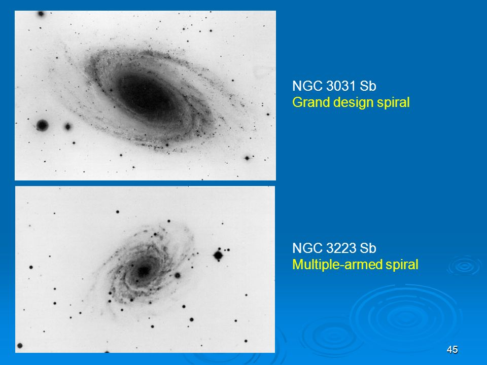 NGC 3031 Sb Grand design spiral NGC 3223 Sb Multiple-armed spiral