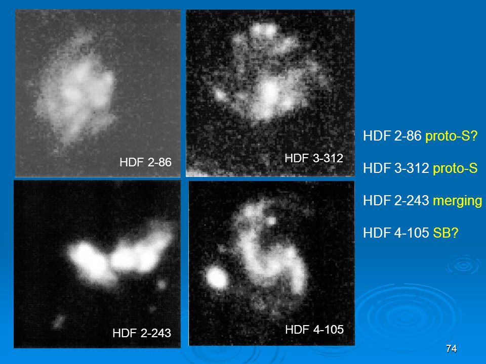 HDF 2-86 proto-S HDF 3-312 proto-S HDF 2-243 merging HDF 4-105 SB