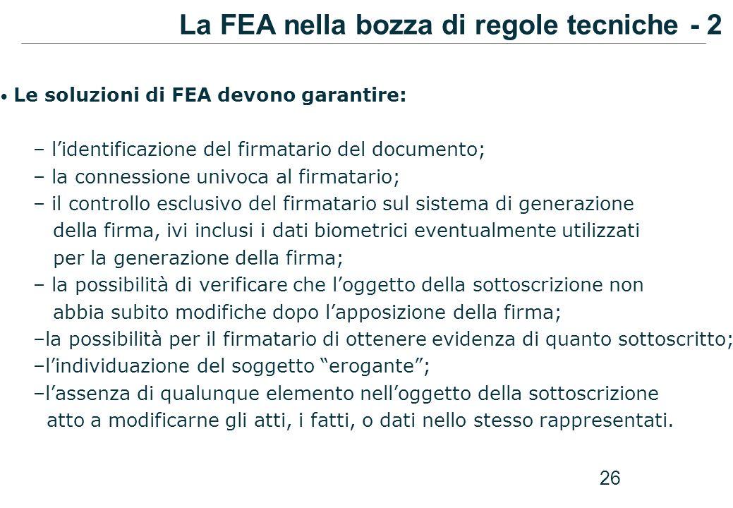 La FEA nella bozza di regole tecniche - 2