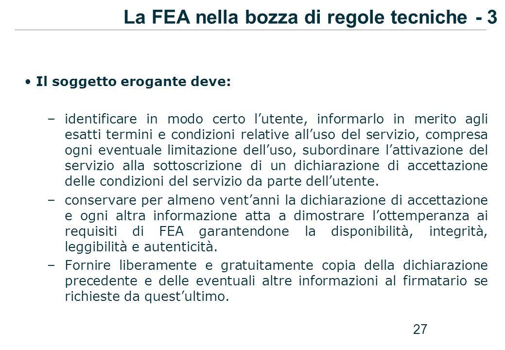 La FEA nella bozza di regole tecniche - 3