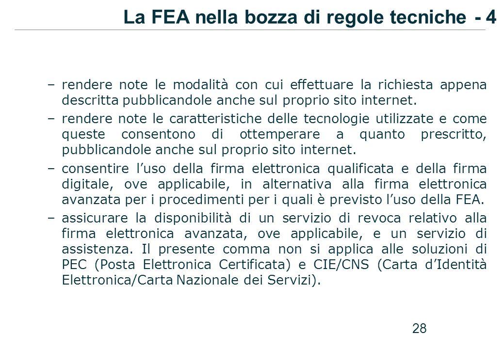 La FEA nella bozza di regole tecniche - 4