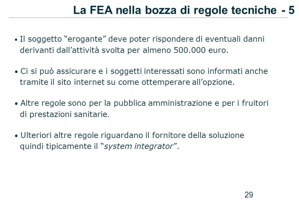 La FEA nella bozza di regole tecniche - 5